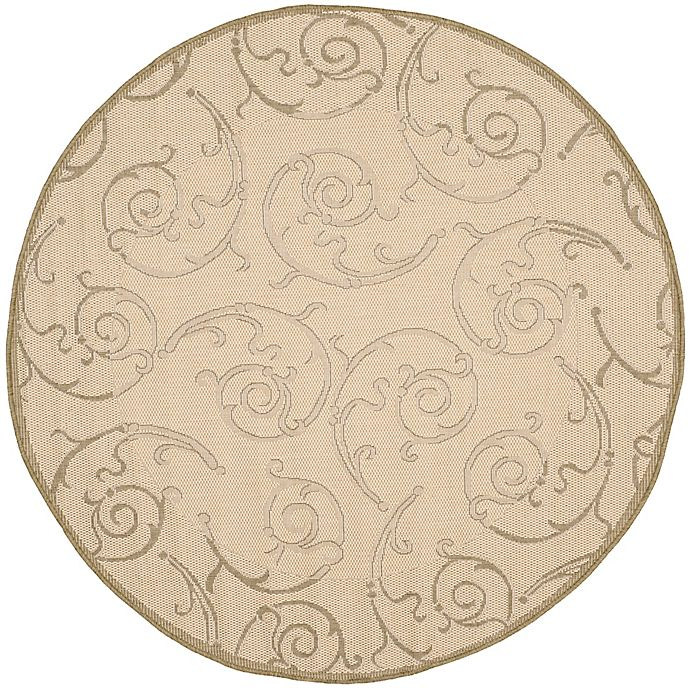 Alternate image 1 for Safavieh Courtyard 6-Foot 7-Inch x 6-Foot 7-Inch Luna Indoor/Outdoor Rug in Natural/Olive