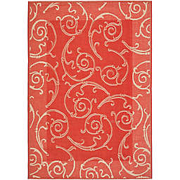 Safavieh Courtyard 8-Foot x 11-Foot Luna Indoor/Outdoor Rug in Red/Natural