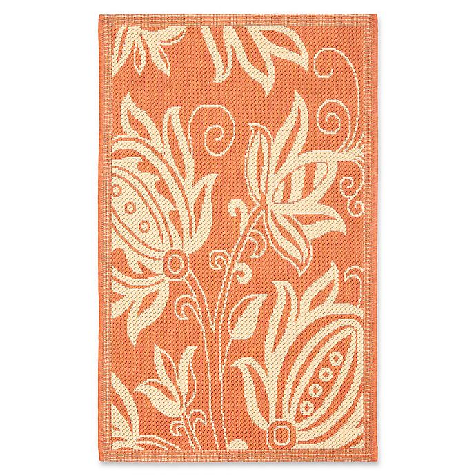 Alternate image 1 for Safavieh Courtyard 4-Foot x 5-Foot 7-Inch Reese Indoor/Outdoor Rug in Terracotta/Natural