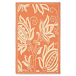 Safavieh Courtyard 4-Foot x 5-Foot 7-Inch Reese Indoor/Outdoor Rug in Terracotta/Natural