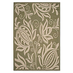 Safavieh Courtyard 5-Foot 3-Inch x 7-Foot 7-Inch Reese Indoor/Outdoor Rug in Olive/Natural
