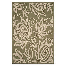 Safavieh Courtyard 6-Foot 7-Inch x 9-Foot 6-Inch Reese Indoor/Outdoor Rug in Olive/Natural