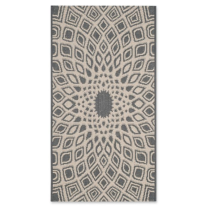 Alternate image 1 for Safavieh Courtyard 2-Foot x 3-Foot 7-Inch Lacey Indoor/Outdoor Rug in Anthracite/Beige
