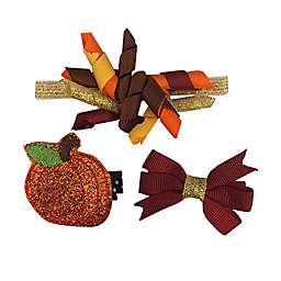 So'dorable 3-Piece Fall Pumpkin Headband and Clip Set