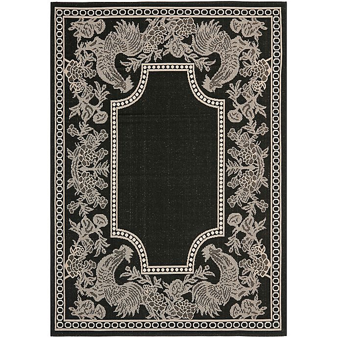 Alternate image 1 for Safavieh Courtyard 4-Foot x 5-Foot 7-Inch Kinley Indoor/Outdoor Rug in Black/Sand