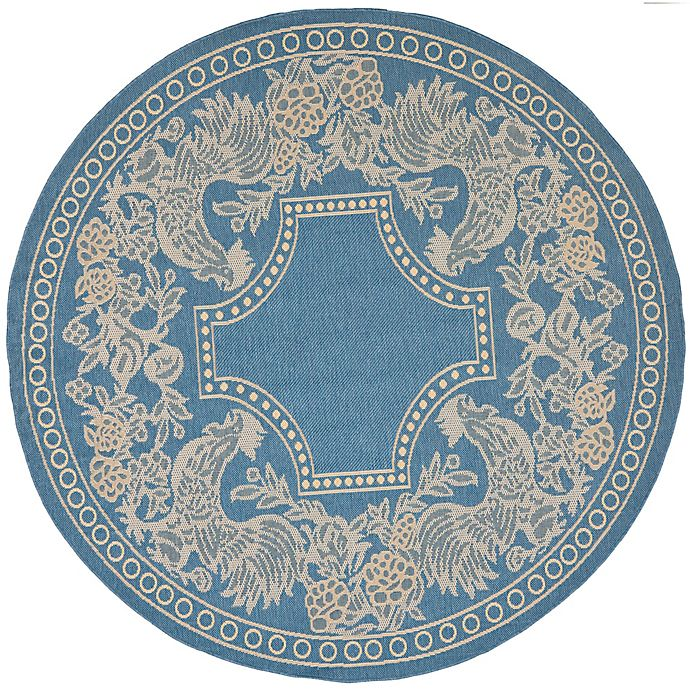 Alternate image 1 for Safavieh Courtyard 5-Foot 3-Inch x 5-Foot 3-Inch Kinley Indoor/Outdoor Rug in Blue/Natural
