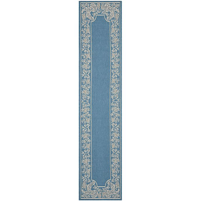 Alternate image 1 for Safavieh Courtyard 2-Foot 3-Inch x 10-Foot Kinley Indoor/Outdoor Rug in Blue/Natural