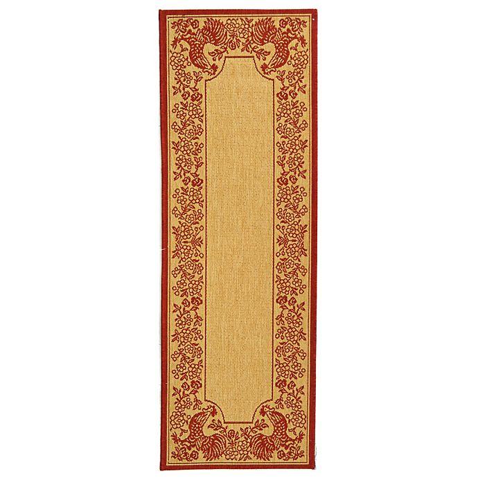 Alternate image 1 for Safavieh Courtyard 2-Foot 3-Inch x 10-Foot Kinley Indoor/Outdoor Rug in Natural/Red