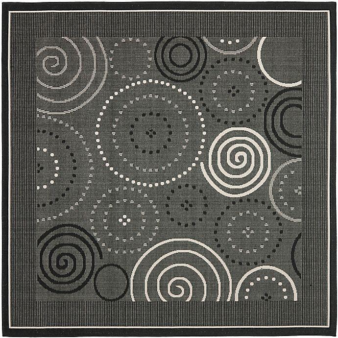Alternate image 1 for Safavieh Courtyard 7-Foot 10-Inch x 7-Foot 10-inch Hazel Indoor/Outdoor Rug in Black/Sand