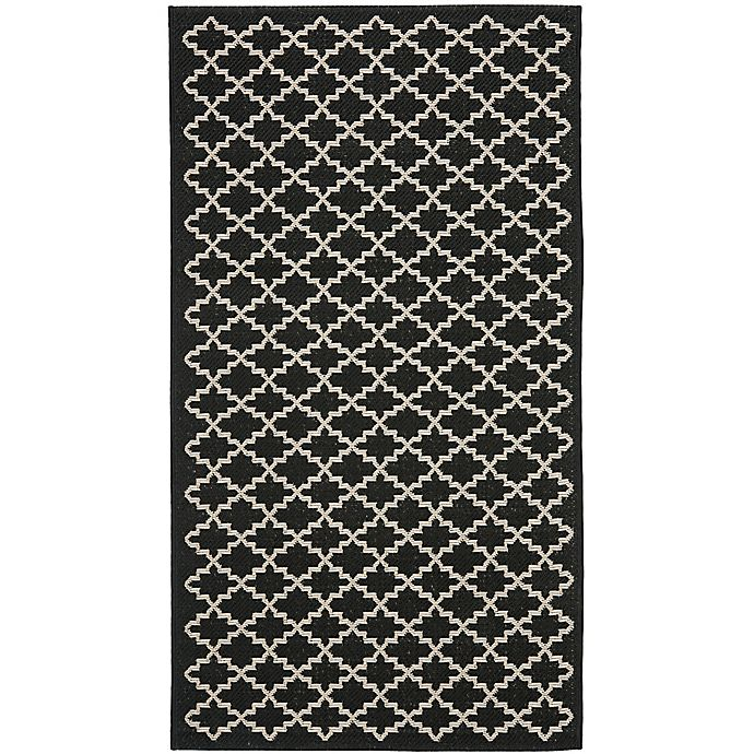 Alternate image 1 for Safavieh Courtyard 4-Foot x 5-Foot 7-Inch Anika Indoor/Outdoor Rug in Black/Beige