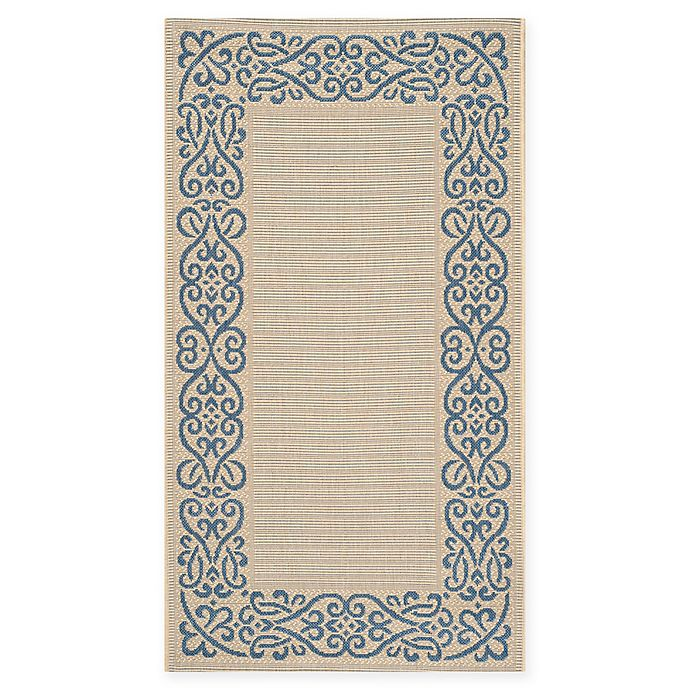 Alternate image 1 for Safavieh Courtyard 2-Foot 7-Inch x 5-Foot Anna Indoor/Outdoor Rug in Natural/Blue