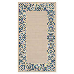 Safavieh Courtyard 2-Foot 7-Inch x 5-Foot Anna Indoor/Outdoor Rug in Natural/Blue