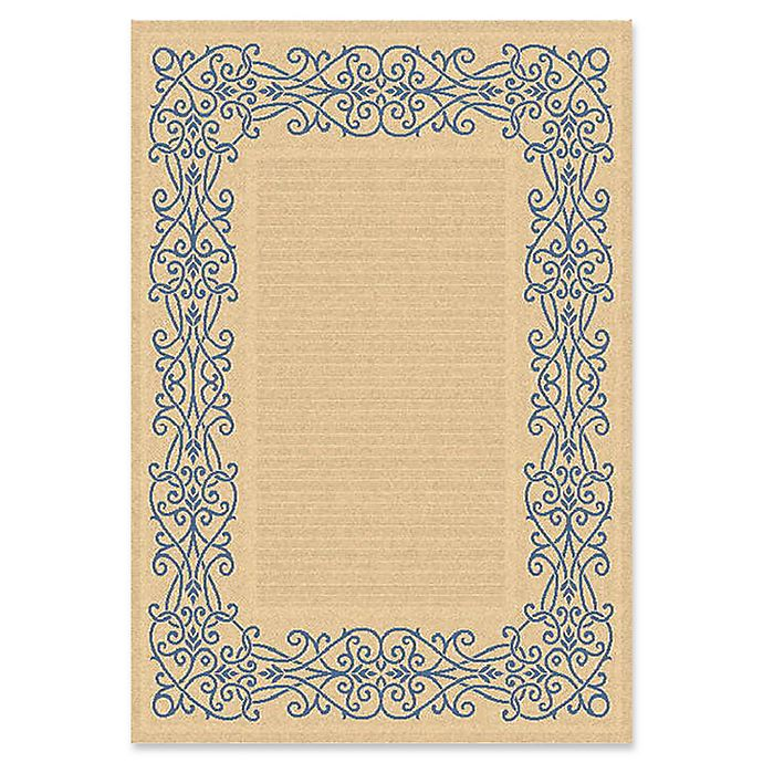 Alternate image 1 for Safavieh Courtyard 5-Foot 3-Inch x 7-Foot 7-Inch Anna Indoor/Outdoor Rug in Natural/Blue