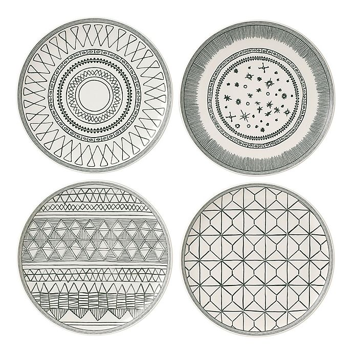 Alternate image 1 for ED Ellen DeGeneres Crafted by Royal Doulton® Grey Lines 8-Inch Plates (Set of 4)
