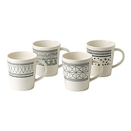 ED Ellen DeGeneres Crafted by Royal Doulton® Grey Lines Mugs Set of 4)