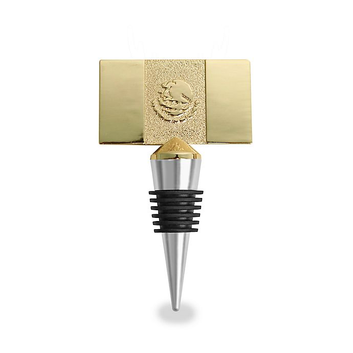 Alternate image 1 for Wild Eye Designs Mexico Flags Wine Stopper in Gold