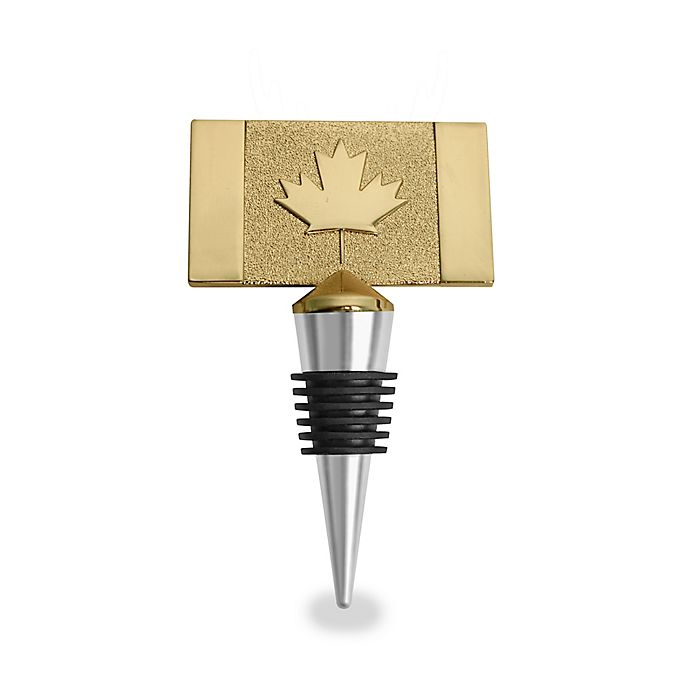 Alternate image 1 for Wild Eye Designs Canada Flags Wine Stopper in Gold