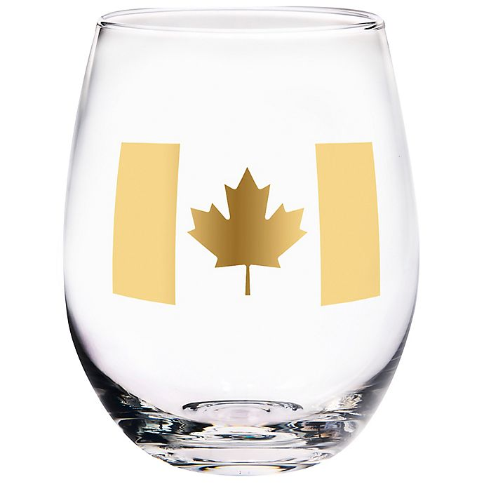 Alternate image 1 for Home Essentials & Beyond Canada Flag Stemless Wine Glass