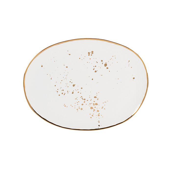 Alternate image 1 for Olivia & Oliver™ Harper Splatter Organic Shape Gold 13-Inch Oblong Platter