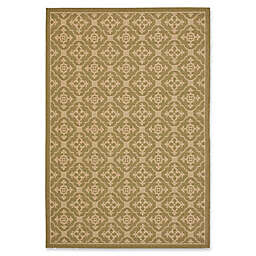 Safavieh Courtyard 5-Foot 3-Inch x 7-Foot 7-Inch Jimena Indoor/Outdoor Rug in Green/Creme