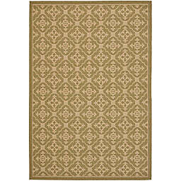 Safavieh Courtyard 6-Foot 7-Inch x 9-Foot 6-Inch Jimena Indoor/Outdoor Rug in Green/Creme