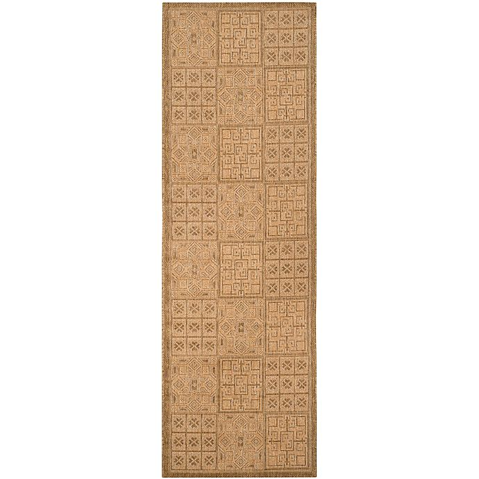 Alternate image 1 for Safavieh Courtyard 2-Foot 2-Inch x 9-Foot 11-Inch Kiera Indoor/Outdoor Rug in Gold/Natural
