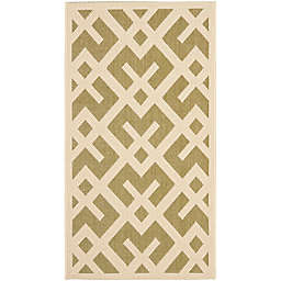 Safavieh Courtyard 2-Foot 7-Inch x 5-Foot Henley Indoor/Outdoor Rug in Green/Bone