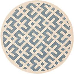 Safavieh Courtyard 6-Foot 7-Inch x 6-Foot 7-Inch Henley Indoor/Outdoor Rug in Blue/Bone