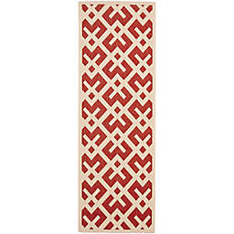 Safavieh Courtyard 2-Foot 3-Inch x 8-Foot Henley Indoor/Outdoor Rug in Red/Bone