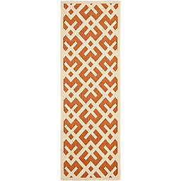 Safavieh Courtyard 2-Foot 3-Inch x 10-Foot Henley Indoor/Outdoor Rug in Terracotta/Bone