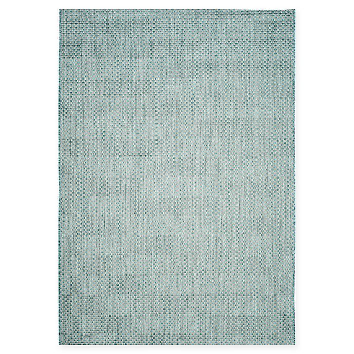 Alternate image 1 for Safavieh Courtyard 6-Foot 7-Inch x 9-Foot 6-Inch Thalia Indoor/Outdoor Rug in Light Blue/Light Grey