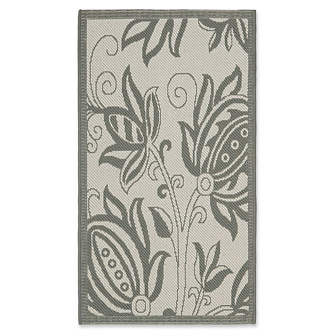 Alternate image 1 for Safavieh Courtyard 2-Foot x 3-Foot 7-Inch Kira Indoor/Outdoor Rug in Light Grey/Anthracite