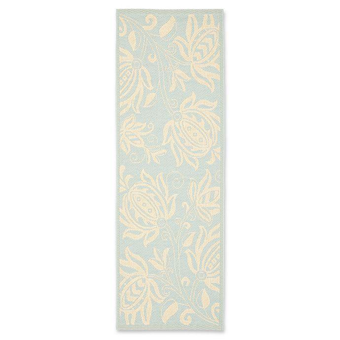 Alternate image 1 for Safavieh Courtyard 2-Foot 3-Inch x 6-Foot 7-Inch Kira Indoor/Outdoor Rug in Aqua/Cream