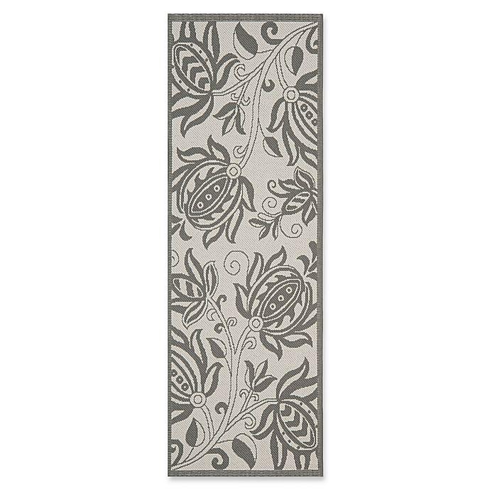 Alternate image 1 for Safavieh Courtyard 2-Foot 3-Inch x 10-Foot Kira Indoor/Outdoor Rug in Light Grey/Anthracite