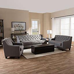 Baxton Studio Arcadia Button-Tufted Upholstered 3-Piece Sofa Set
