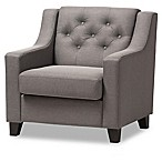 Baxton Studio Arcadia Button-Tufted Upholstered Chair in Grey