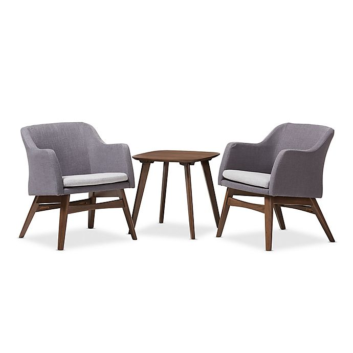 Incredible Baxton Studio Vera 3 Piece Lounge Chair And Table Set In Ibusinesslaw Wood Chair Design Ideas Ibusinesslaworg