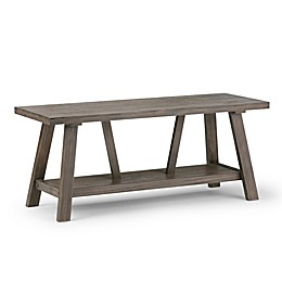Simpli Home Dylan Entryway Bench with Driftwood Finish