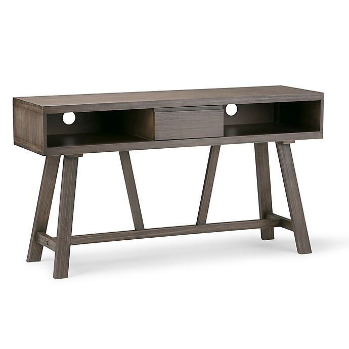 Alternate image 1 for Simpli Home Dylan TV Media Stand with Driftwood Finish