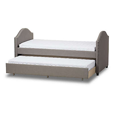 Baxton Studio Alessia Upholstered Daybed with Trundle Bed