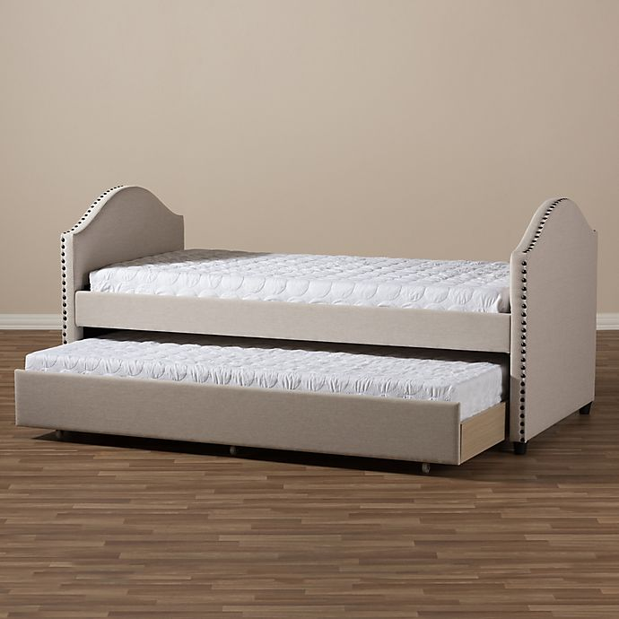 Alternate image 1 for Baxton Studio Alessia Upholstered Daybed with Trundle Bed in Beige