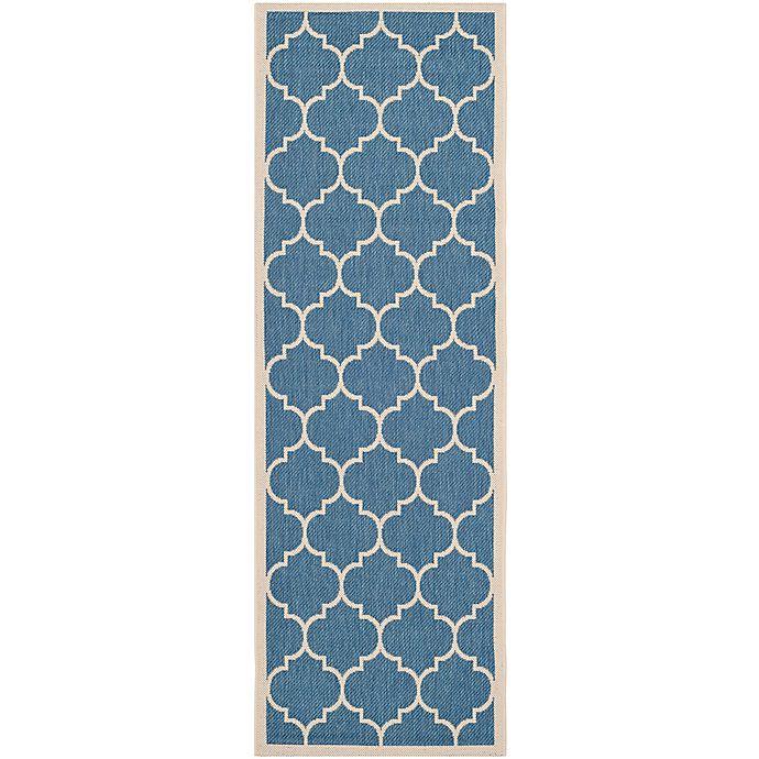 Alternate image 1 for Safavieh Courtyard 2-Foot 3-Inch x 14-Foot Jessa Indoor/Outdoor Rug in Blue/Beige