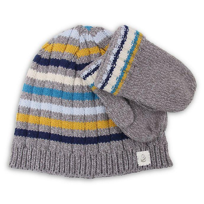 Alternate image 1 for Cuddl Duds® 2-Piece Stripe Beanie Hat and Mitten Set in Grey