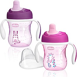 Chicco® NaturalFit® 2-Pack Semi-soft Spout 7 oz. Trainer Cup in Pink/Purple