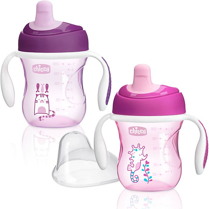 Alternate image 1 for Chicco® NaturalFit® 2-Pack Semi-soft Spout 7 oz. Trainer Cup in Pink/Purple