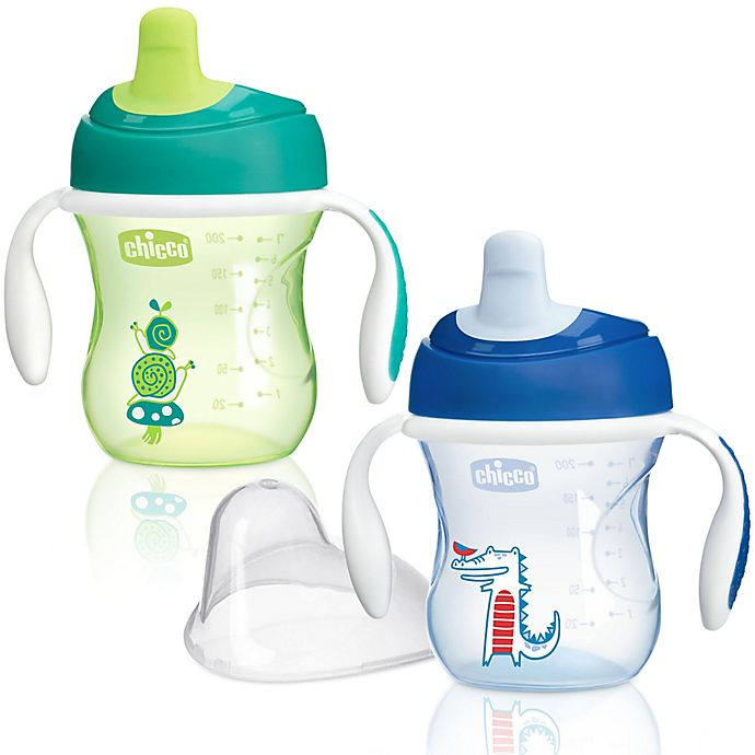 Alternate image 1 for Chicco® NaturalFit® 2-Pack Semi-soft Spout 7 oz. Trainer Cup in Blue/Green