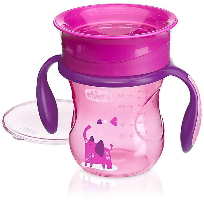 Alternate image 1 for Chicco® NaturalFit® 360-degree 7 oz. Rim Trainer Cup with Handles in Pink