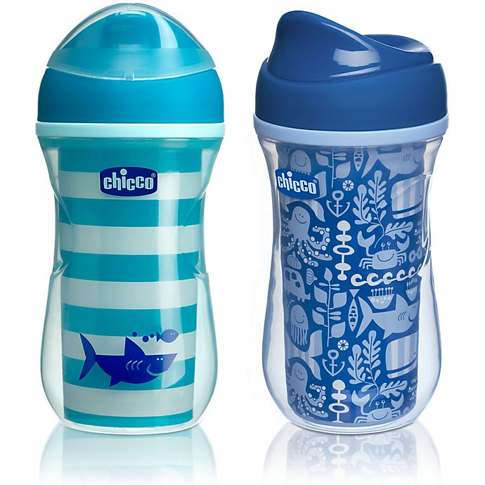 Alternate image 1 for Chicco® NaturalFit® 2-Pack 9 oz. Insulated Rim-Spout 9 oz. Trainer Cup in Teal/Blue