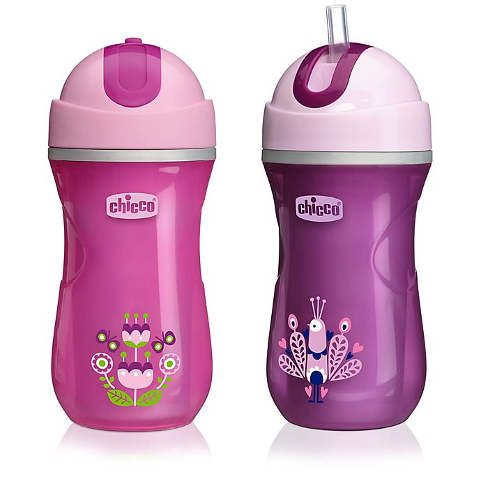 Alternate image 1 for Chicco® NaturalFit® 2-Pack Insulated Flip Top 9 oz. Straw Cup in Pink/Purple