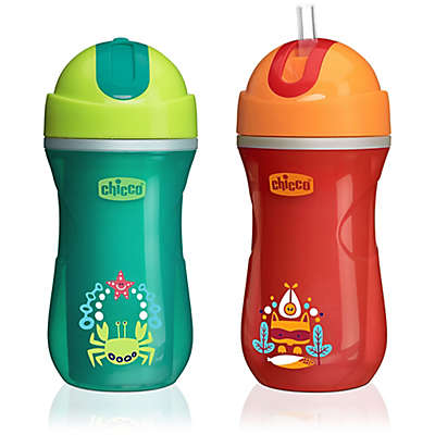 Chicco® NaturalFit® 2-Pack Insulated Flip Top 9 oz. Straw Cups in Green/Orange